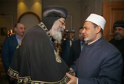 Sheikh Ahmed Eltayyeb of Alazhar with Pope Tawadrous