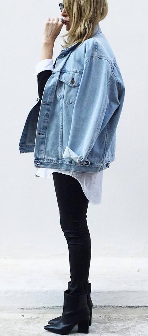ootd: denim jacket + top + skinnies + boots