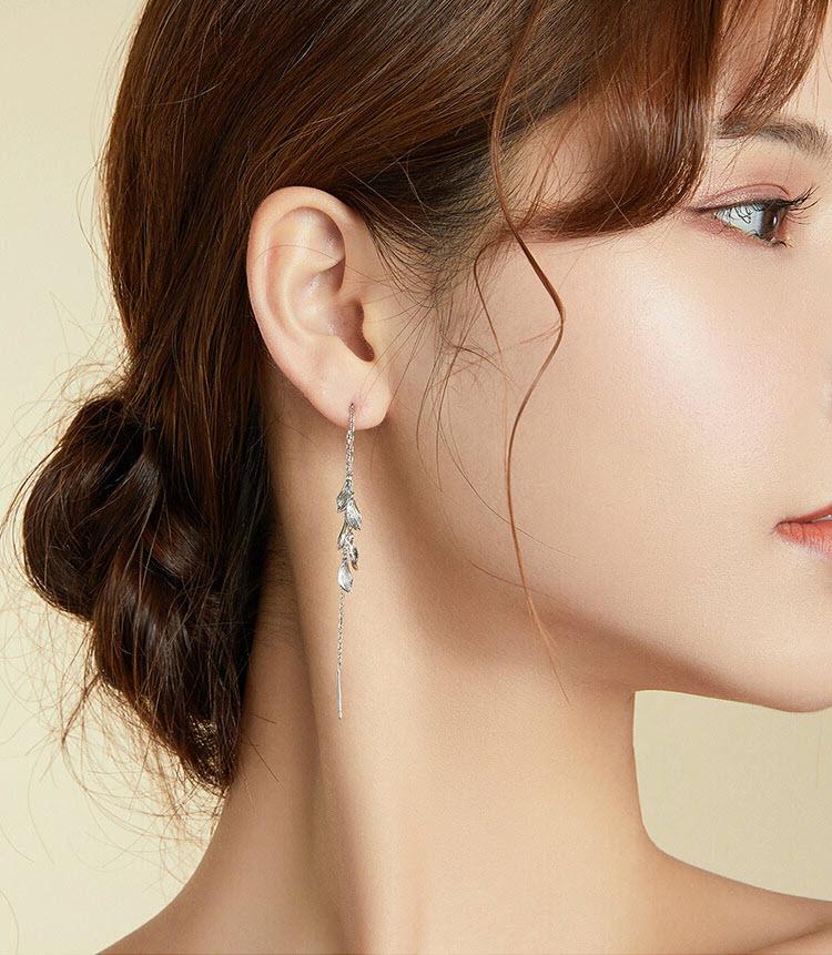唯美葉子線條感拉絲 925純銀流蘇耳環