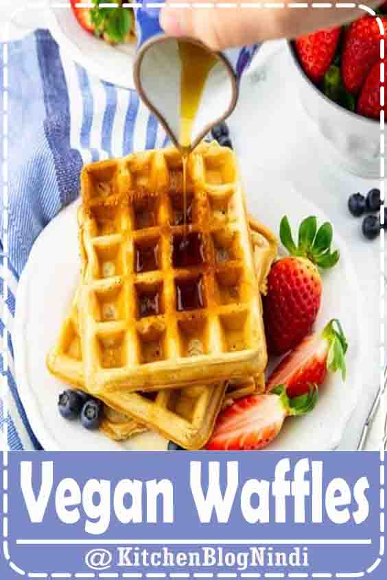 4.9★★★★★ | You are going to love these classic vegan waffles! They are super quick and easy to make and they are golden crispy on the outside and perfectly fluffy on the inside. They make the perfect vegan breakfast! #vegan #waffles #veganrecipes
