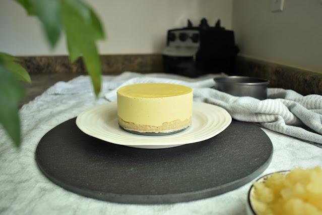 Pineapple Coconut No Bake Vegan Cheesecake
