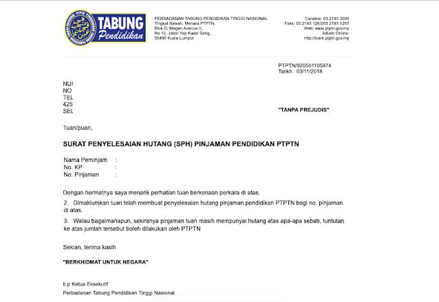 Surat Penyelesaian Hutang PTPTN