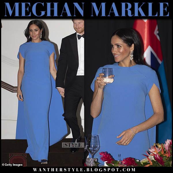 Meghan Markle in blue cape maxi dress safiyaa royal tour australia fiji style october 23