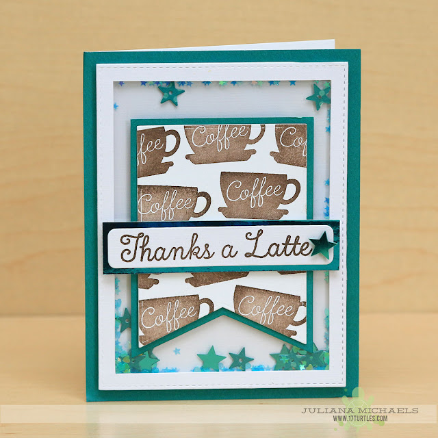 Thanks A Latte Card by Juliana Michaels featuring a shaker box and the LLD Perk Up Stamp Set and Die-Namics Blue Print 24 from MFT Stamps