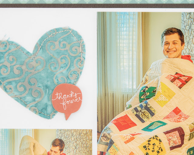 scrapbook layout using Sleeping Under a Quilt stamp