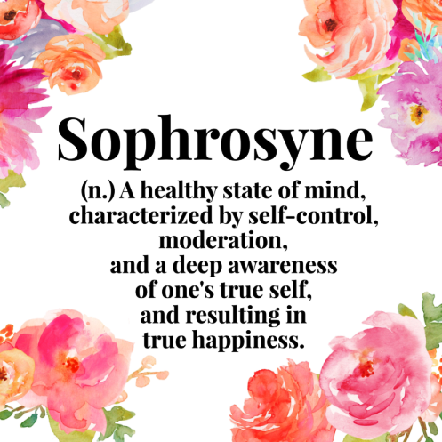 "Sophrosyne as: ""Mens sana in corpore sano"" meaning ""Healthy in mind, healthy in body""; balance!"