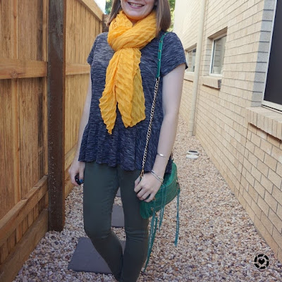 awayfromtheblue Instagram | space dye peplum tee olive skinny jeans mustard scarf SAHM playdate outfit