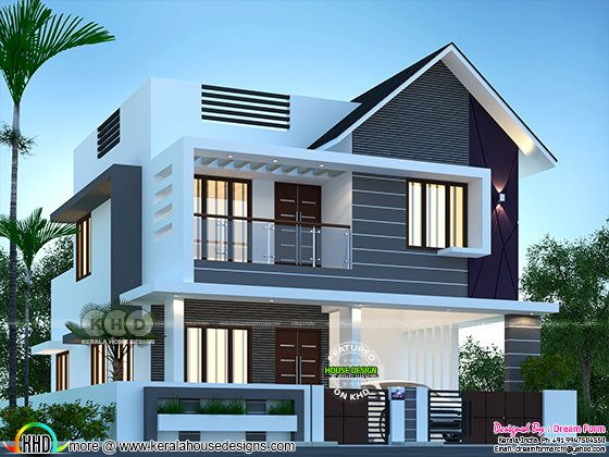 Front design of 1800 square feet mixed roof house