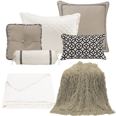 white diamond linen quilt, Mongolian fur throw in taupe, Augusta decorative pillows