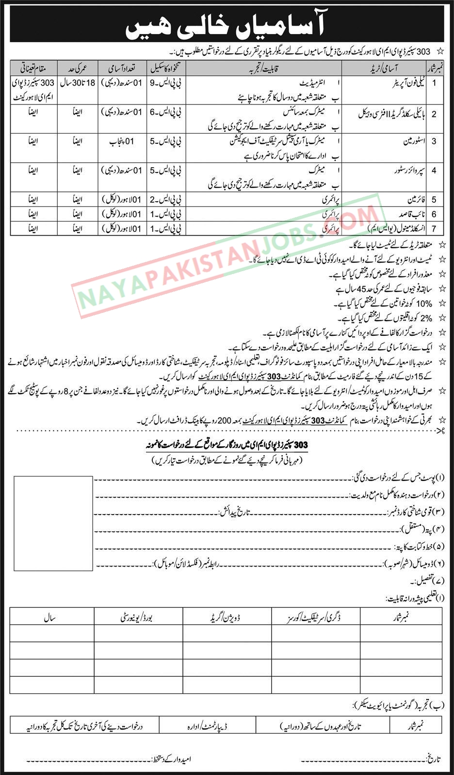 Latest Vacancies Announced in Pak Army 303 Spares Depot EME Lahore 14 October 2018 - Naya Pakistan