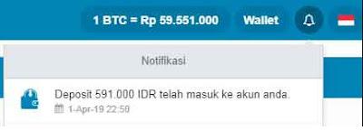 notifikasi deposit indodax sukses