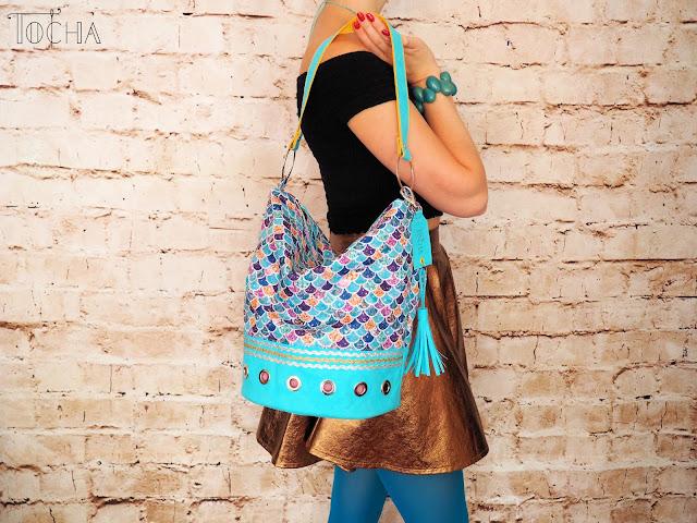 hobo, bucket bag, mermaid, turquoise, Bahama blue, Washpapa, waterproof polyester, tassel, charm, vegan leather, craft paper, Dylon, shoulder bag, vegan bag,