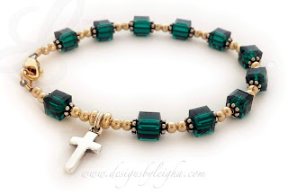 Gold & Sterling Silver Emerald Rosary Bracelet with a Sterling Silver Cross Charm
