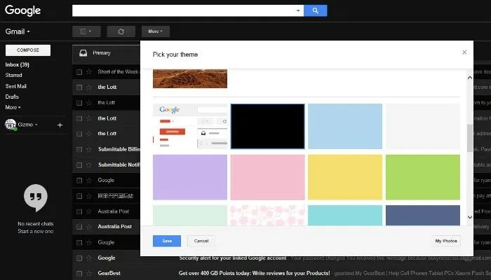 مظلم gmail-theme