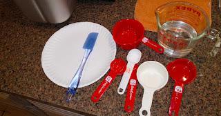 The utensils Bondy uses to make bread machine whole wheat bread