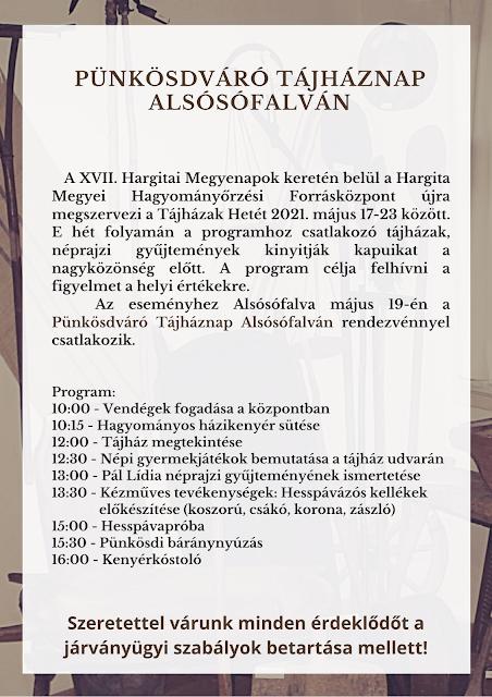 Pünkösdváró Tájháznap Alsósófalván