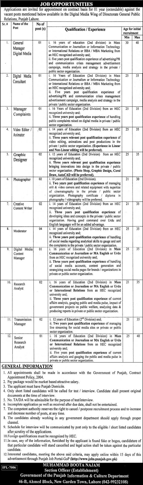 Jobs in Information And Culture Department Lahore Jobs 2019 August