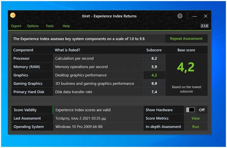 Xiret : Λογισμικό αξιολόγησης του υπολογιστή σας στα windows