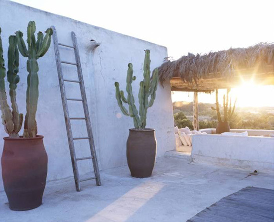 Sunset at ethnic inspired terrace in Formentera