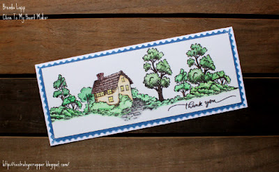 slimline card created with Strong Roots and colored pencils