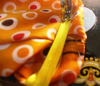 sew on  the bias ribbon