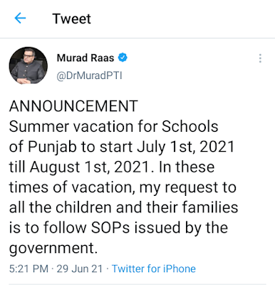 SUMMER VACATIONS FOR SCHOOLS IN PUNJAB