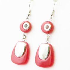 60s style earrings in plastic modern