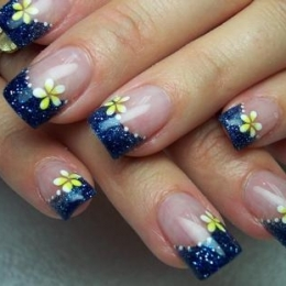 fashionhobbies floral nail designs blue and yellow