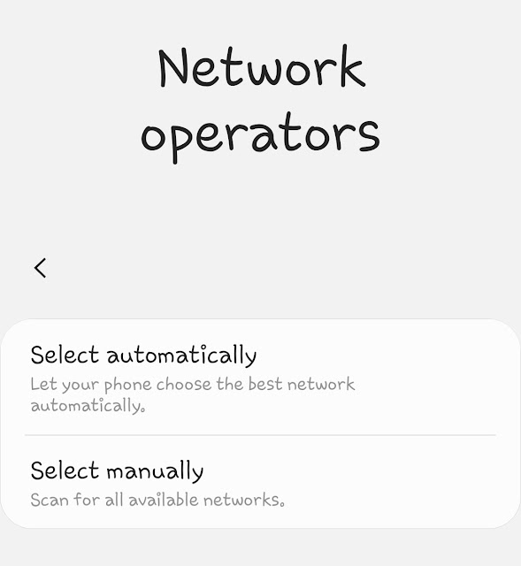 Choose network operator manually