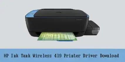 HP Ink Tank Wireless 419 Printer Driver Software Download