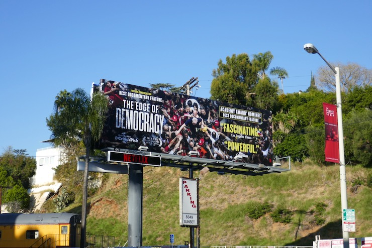 Edge of Democracy Oscar nominee billboard