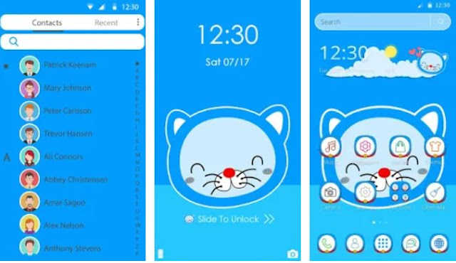 Blue Cute Cat Cartoon Theme
