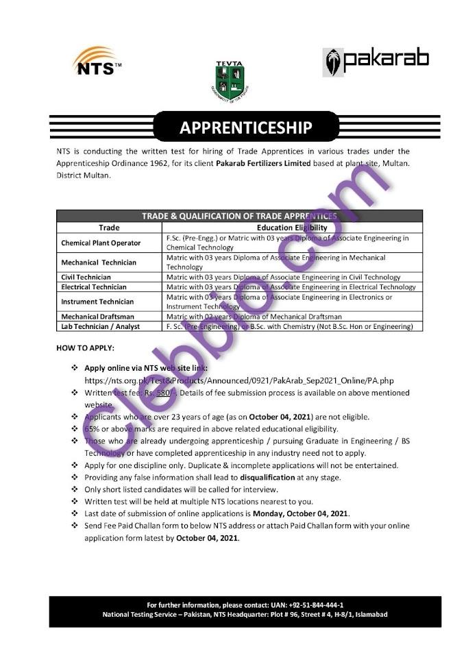 Pakarab Fertilizers Trade Apprenticeship Program 2021