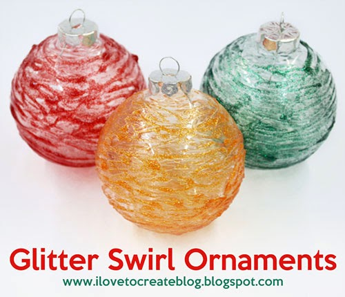 Diy Glass Ornaments: ILoveToCreate Blog: Glitter Swirl Glass Ornaments DIY