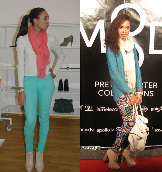 Aqua jeans, cream top and coral scarf, Aztec leggings with blue-green jumper, how to style aqua, how to style aztec