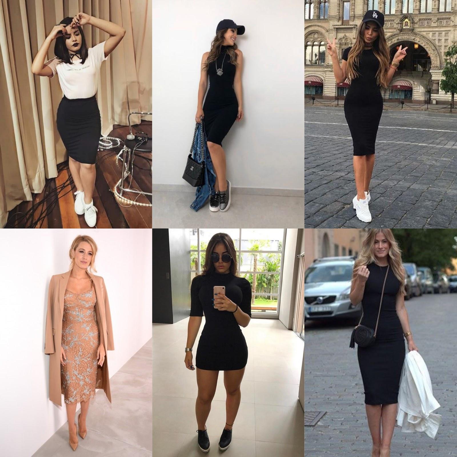 vestidos ou saias afuniladas