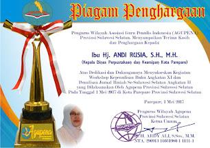 Penghargaan untuk Kadis Perpustakaan Parepare