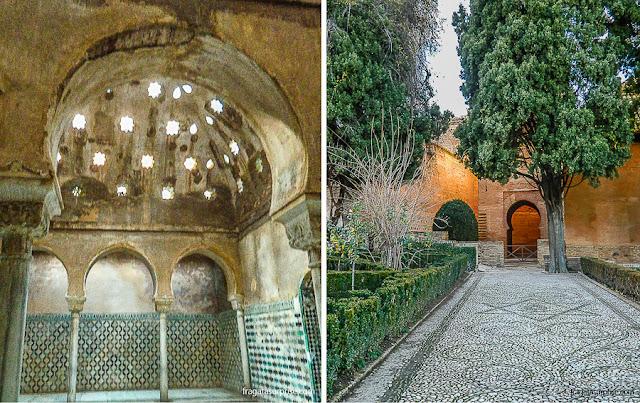 O hammam (banhos) e um jardim dos Palácios Násridas, na Alhambra