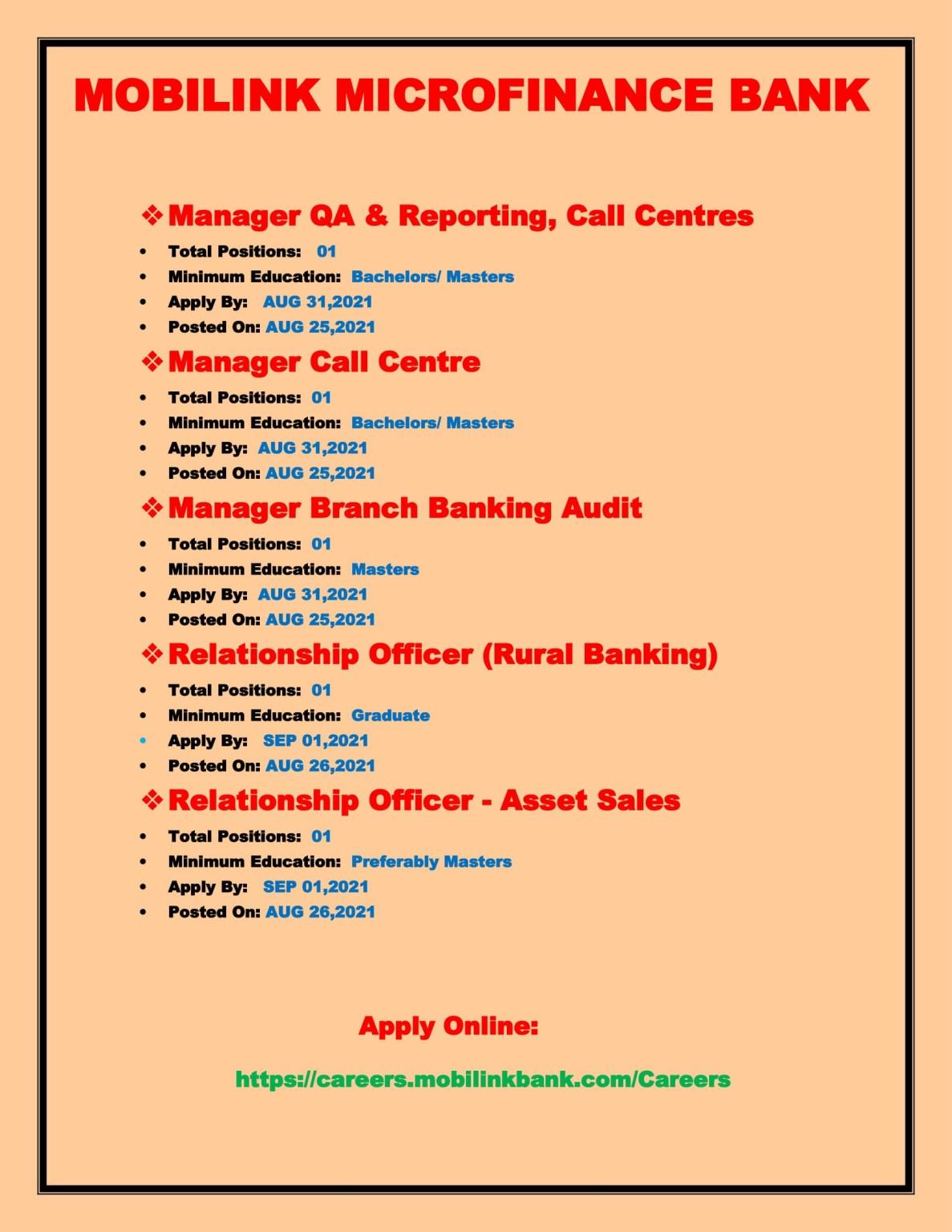 Mobilink Bank Jobs 2021-Jobs In Mobilink Microfinance Bank-Apply Online