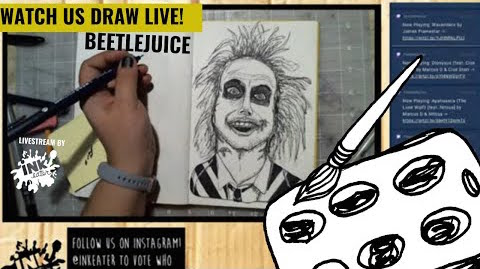 Drawing Beetlejuice aka Michael Keaton - Come Hang Out - Live Time Lapse!