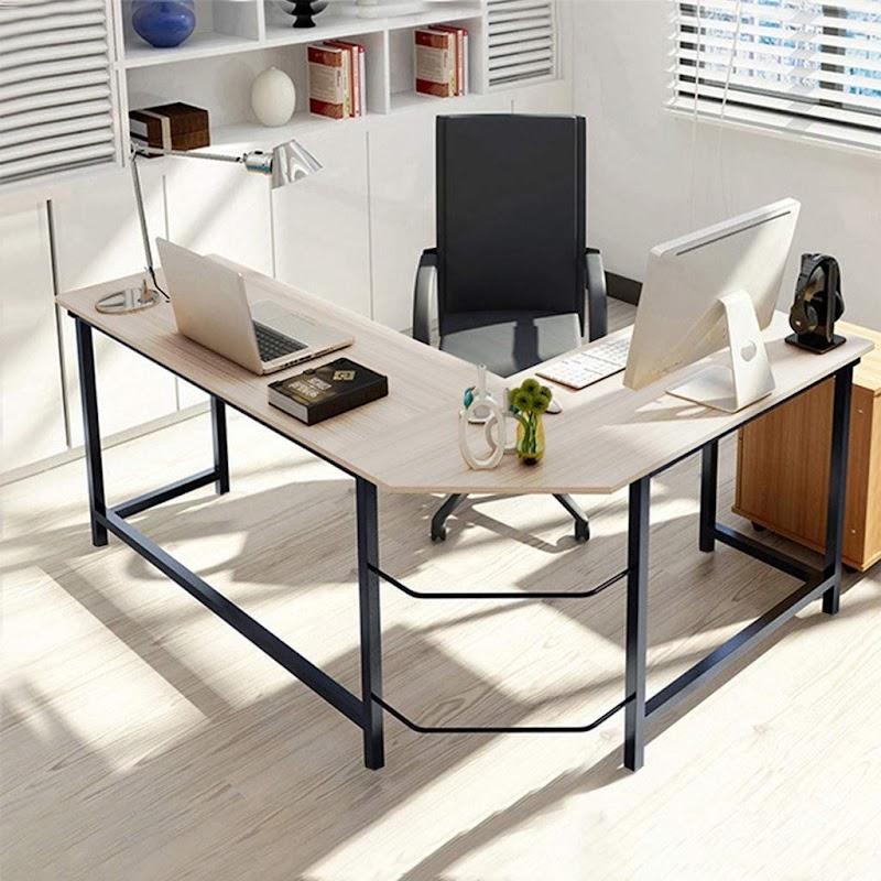 50% OFF Modern L-Shaped Desk Corner Computer Desk Computer Table Sturdy Gaming Desk Writing Desk Workstation for Home Office, Space-Saving & Easy to Assemble