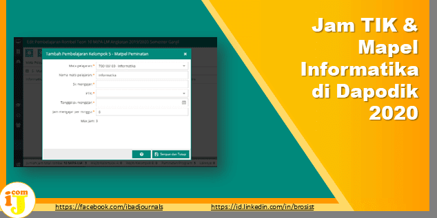 Jam TIK & Mapel Informatika di Dapodik 2020