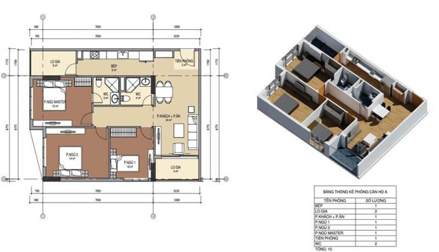 Thiết kế căn hộ số 5 chung cư Bình minh garden