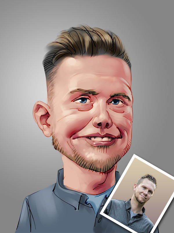 professional male caricature digital painting