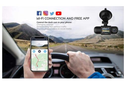 COOAU D30 1080P FHD Built-in GPS Wi-Fi dual dash cam