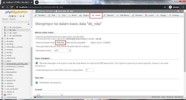 phpmyadmin import db