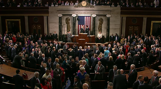 State of the Union 2016 waving congressman congress senator to camera