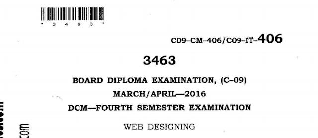 SBTET AP C-09 WEB DESIGNING PREVIOUS QUESTION PAPER MARCH-APRIL 2016