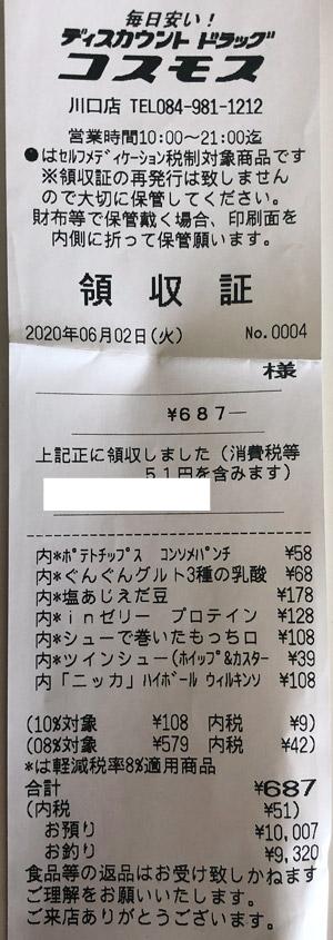 コスモス 川口店 2020/6/2 のレシート