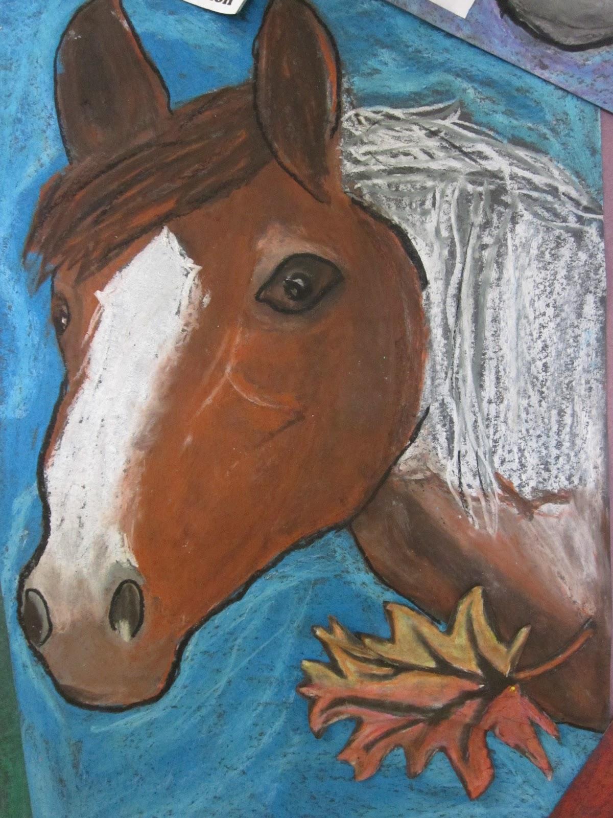 Lake And Hartville Elementary Art 5th Grade Oil Pastel Horses